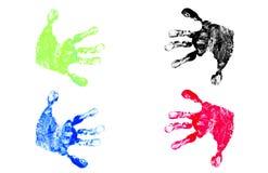 Impresiones de la mano de los niños Fotografía de archivo libre de regalías