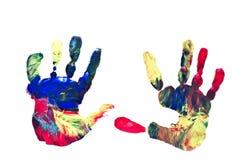Impresiones de la mano del niño imagen de archivo