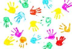 Impresiones de la mano del niño aisladas en un blanco Imagen de archivo