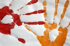 Impresiones de la mano en color Imagen de archivo libre de regalías