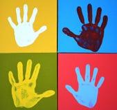 Impresiones de la mano en lona Imágenes de archivo libres de regalías