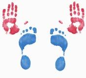 Impresiones de la mano y del pie Imagen de archivo libre de regalías