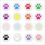 Impresiones de la pata en etiquetas engomadas Imagen de archivo libre de regalías