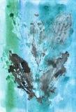 Impresiones de las hojas del vector en fondo de la acuarela Foto de archivo