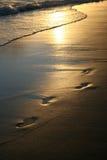 Impresiones de oro del pie de la puesta del sol en la playa Foto de archivo libre de regalías
