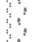 Impresiones de zapatos y de patas del perro Imagenes de archivo