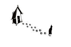 Impresiones del gato y de la pata Fotografía de archivo