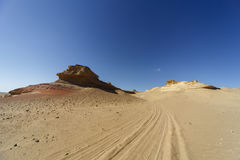 Impresiones del neumático en el desierto Imagen de archivo libre de regalías