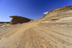 Impresiones del neumático en el desierto Fotografía de archivo