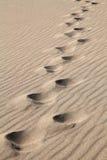 Impresiones del pie en la arena Imagenes de archivo