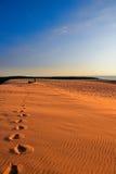 Impresiones del pie en la duna Imagenes de archivo
