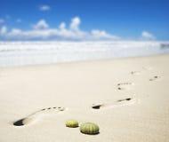 Impresiones del pie en una playa arenosa Fotografía de archivo