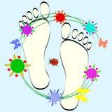 Impresiones del pie, olor limpio Foto de archivo libre de regalías