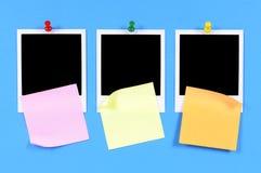 Impresiones en blanco de la foto con las notas pegajosas (XL) Imágenes de archivo libres de regalías