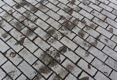 Impresiones mojadas del pie en el pavimento Foto de archivo