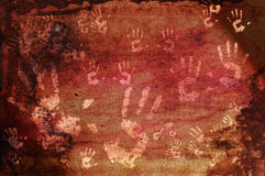 Impresiones prehistóricas de la mano Imágenes de archivo libres de regalías