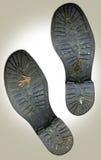 Impresiones viejas sucias del pie de los cargadores del programa inicial Foto de archivo libre de regalías