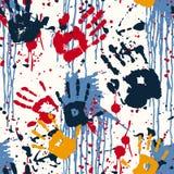 Impresiones y manchas blancas /negras de la mano Imagen de archivo libre de regalías