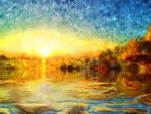 Impresjonizm jezioro Obraz Royalty Free