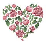 Impreso en forma de corazón rellenado de las rosas y de las hojas florecientes rosadas ilustración del vector