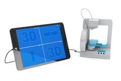 impresora 3d conectada con el Tablet PC Imágenes de archivo libres de regalías