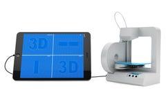 impresora 3d conectada con el Tablet PC ilustración del vector