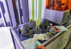 impresora 3D en cabina en ECO 2017 en Kiev, Ucrania Imagenes de archivo