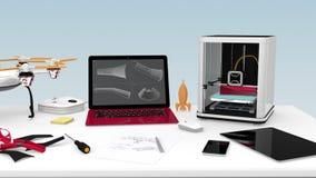 impresora 3D, ordenador portátil, tableta y abejón en una tabla