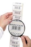 Impresora de la escritura de la etiqueta de código de barras Foto de archivo libre de regalías