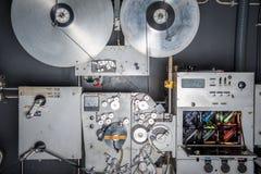 Impresora industrial de la película del cine 35m m del vintage raro con la película Imagen de archivo
