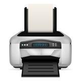 Impresora moderna con el papel en blanco encima del objeto aislado Fotos de archivo libres de regalías