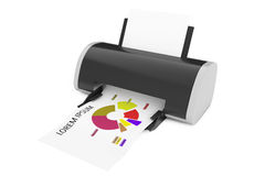 Impresora moderna Print Investment Chart representación 3d ilustración del vector