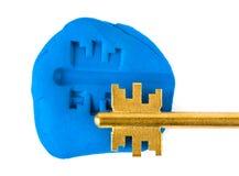 Impressão chave - conceito da segurança Fotos de Stock Royalty Free