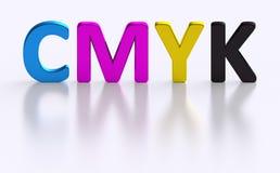 Impressão a cores do processo da letra quatro de CMYK ilustração stock