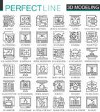 a impressão 3D, a modelagem 3D e a tecnologia da exploração esboçam mini símbolos do conceito Ilustrações lineares do estilo do c ilustração do vetor
