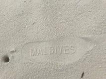 Impressão da praia de Maldivas - estilo do cartão Imagem de Stock