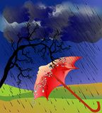 Impressão da queda com guarda-chuva Fotografia de Stock Royalty Free
