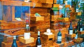 Impressão da venda da janela do vinho da foto fotografia de stock