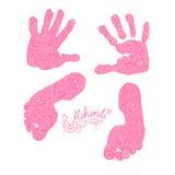 Impressão das palmas e dos pés das crianças s Grupo de Mehendi Fotografia de Stock Royalty Free