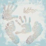 Impressão das palmas e dos pés das crianças s Grupo de Mehendi Fotografia de Stock