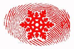 Impressão digital com um floco de neve no centro ilustração do vetor