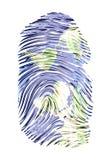 Impressão digital do mapa de mundo Fotografia de Stock Royalty Free