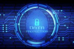 Impressão digital e proteção de dados na tela digital ilustração do vetor