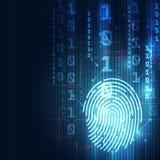 A impressão digital integrou em um circuito impresso, liberando códigos binários Sistema de identificação da exploração da impres ilustração royalty free
