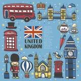 Impressão tirada mão do curso de Reino Unido ilustração royalty free