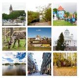 Impressões de Finlandia, colagem de imagens do curso 17 de agosto de 2018 Kouvola, Finlandia foto de stock