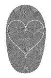 Impressões digitais e coração Fotografia de Stock Royalty Free