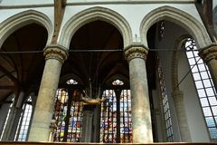 Impressões do Oude Kerk, igreja velha em Amsterdão, Países Baixos Fotografia de Stock Royalty Free