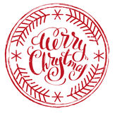 Impress printing stamp Merry Christmas. Isolated on white vector illustration Stock Photography