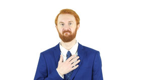 Impressed and Amazed Red Hair Beard Businessman, White Background. High quality Royalty Free Stock Photography